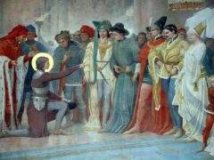 Jeanne in Chinon recognizes the king among her courtiers. Fresco of the Basilica of Domrémy (Photo DR)