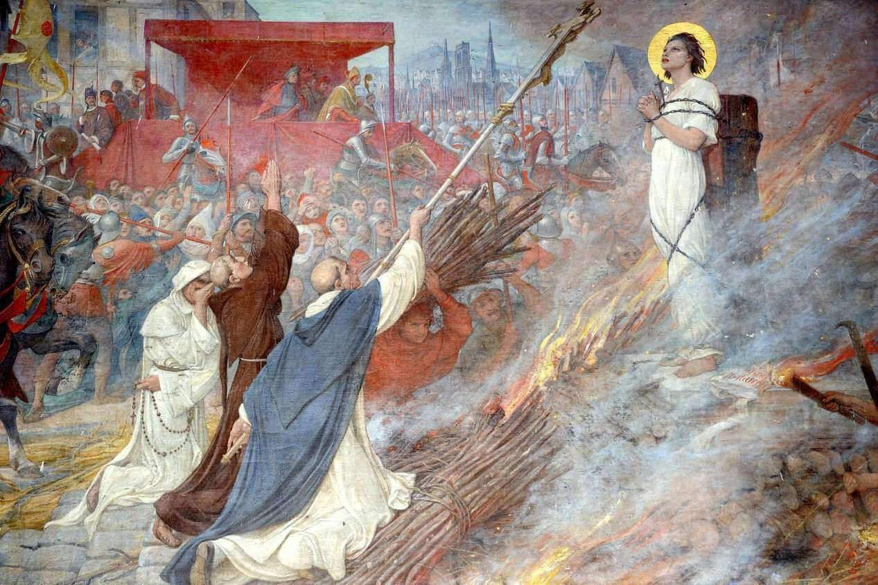 Joan of Arc at the stake (fresco in the Basilica of Domrémy-DR)