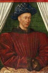 Portrait of Charles VII, by Jean Fouquet, circa 1445 or 1450, Musée du Louvre,(wikipedia)