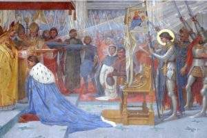 Painting by Lionel ROYER representing Joan of Arc in the Basilica of Bois Chênu (DR)
