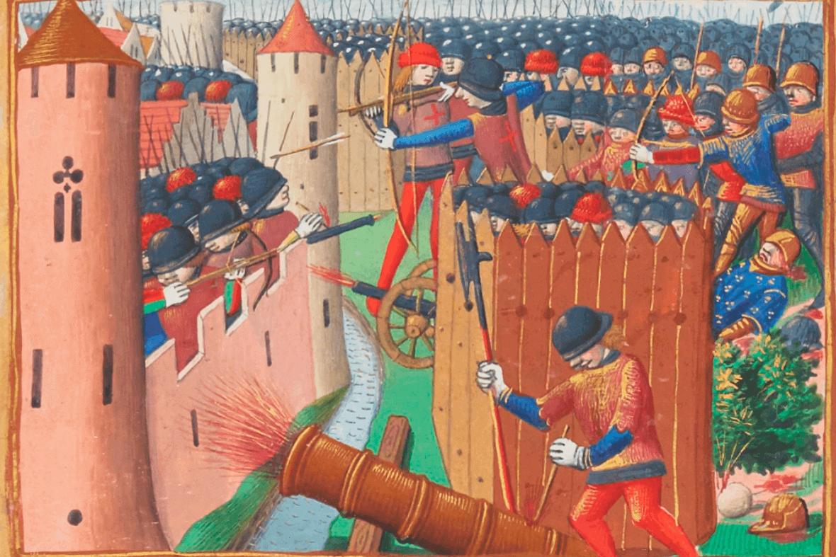Le siège d'Orléans, illumination of the manuscript of Martial d'Auvergne, Les Vigiles de Charles VII, Paris, BnF, ca. 1484.