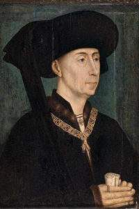 Philip III the Good wearing the collar of the Order of the Golden Fleece and the chaperone with a hanging cornet (copy after Rogier van der Weyden, circa 1450, Dijon Museum of Fine Arts). Wikipedia