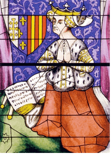 Yolande d'Aragon, stained glass window of the north arm of the transept of the Saint-Julien cathedral in Le Mans (wikipedia)