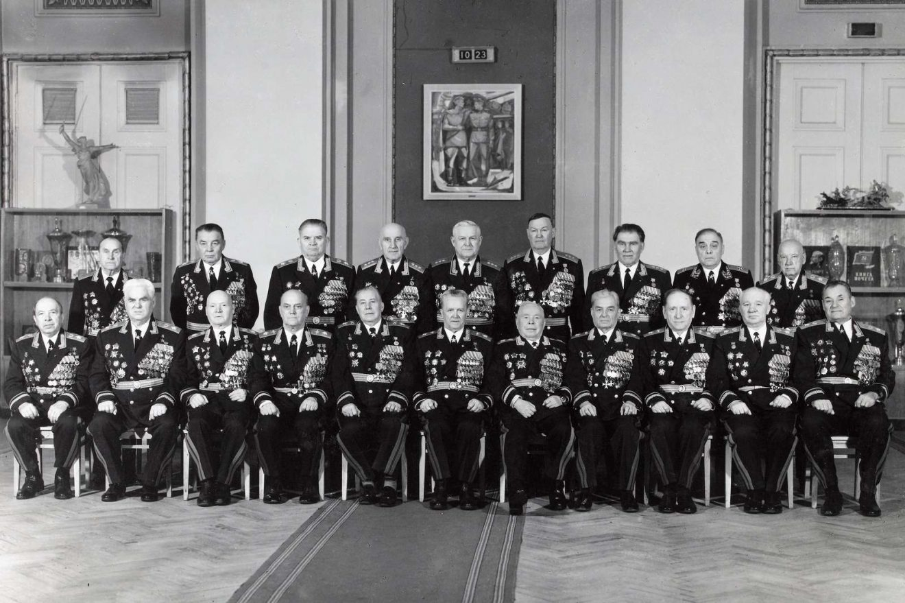Original photograph showing the military chiefs-marshals and colonels-general of the USSR during the Cold War around 1970