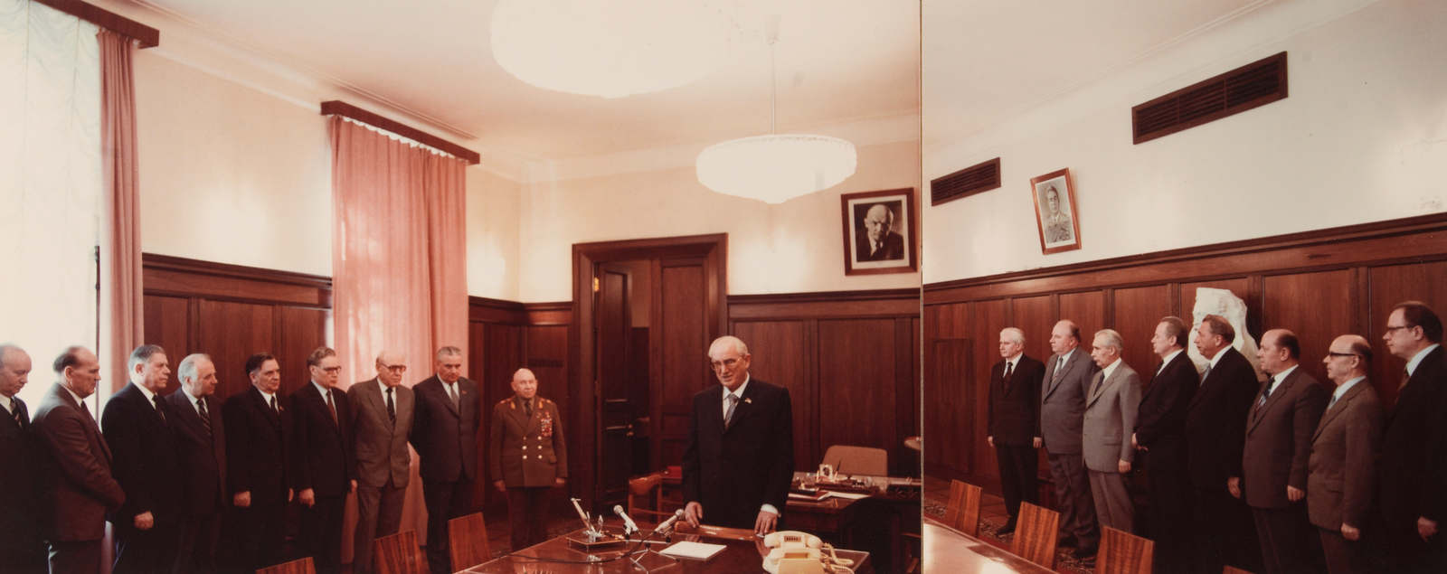 "Extremely rare unpublished photograph of the ""collegium"" of the KGB (USSR) dating from 1982, with KGB President Yuri ANDROPOV (1967-1982) in his office, in the presence of the first vice-president of the KGB, the vice-presidents of the KGB, the heads of the various KGB directorates, as well as the two presidents of KGB state agencies. This photo is exceptional because it shows 4 KGB presidents (1st on the left: Vladimir KRYUCHKOV (president from 1988 to 1991), 7th on the left: Viktor CHEBRIKOV (president from 1982 to 1988), 8th on the left: Vitaly FEDORCHUK (president in 1988), and 10th on the left: Yuri ANDROPOV (president from 1967 to 1982)."