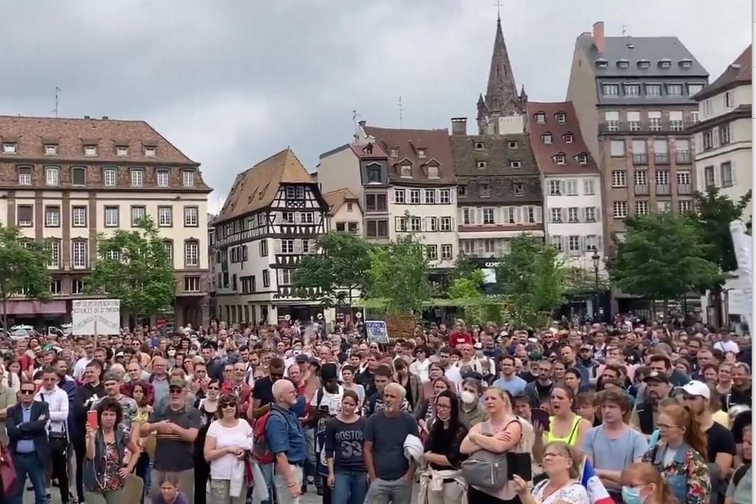 Protestors in Strasbourg