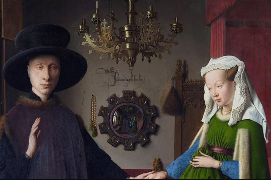 Jan van Eyck, Les Époux Arnolfini, 1434, huile sur panneau de chêne, 82,2 × 60 cm, National Gallery, Londres. Wikipédia